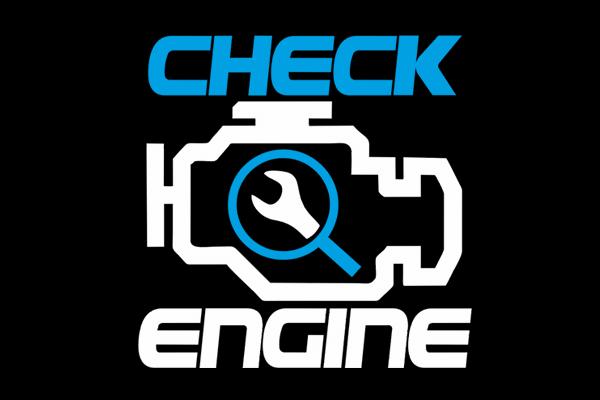 T-Shirt CHECK ENGINE BLACK BLUE